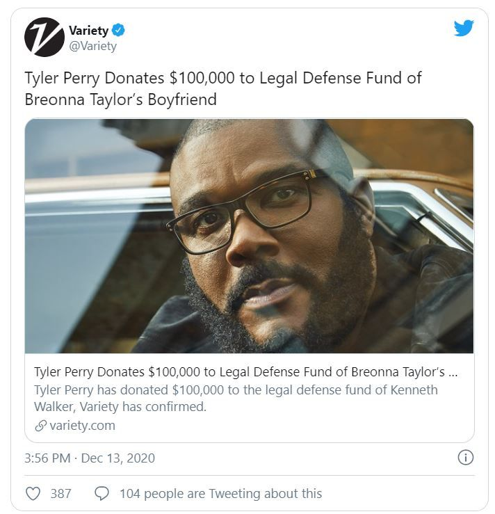 Tyler Perry donates to Kenneth Walker fund