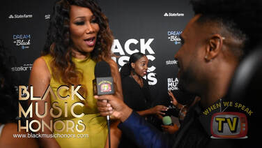 Gospel singer, Yolanda Adams speaks with Jermaine Sain at Black Music Honors